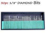 "30PCS Drill Bits Kits Nail Drill Set Shank 3/32"" Manicure  30 Diamond Burr Set Glass Engraving for Dremel Rotary Tool Drill Bit"