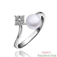 Flower Freshwater Pearl Bead Fashion Ring, Genuine White Platinum Gold Plated Jewelry Made With Swarovski Austrian Crystal R09