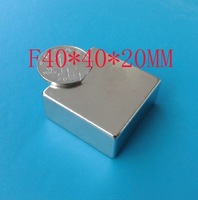 2pcs/lot   40X40X20MM super Powerful N50 NdFeB magnet Neodymium Magnets 40*40*20mm /Free Shipping -magnetic material 40x40x20
