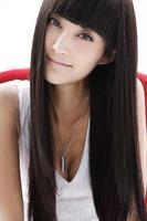 Long straight hair wig oblique fluffy bangs repair sweet jiafa black girls