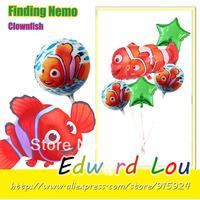 5PCS/SET Finding nemo Marlin Shape Foil Mylar Balloon Children Birthday Party Decoration Foil Balloons -Free Shipping
