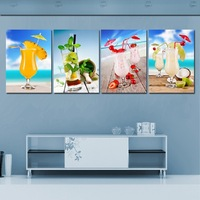 4 Panel Hot Sell Modern Wall Painting Home Decorative Art Picture Paint on Canvas Prints All kinds of delicious fruit juice