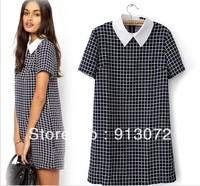 QZ735 New Fashion Ladies' Casual plaid dresses Turn-down collar short sleeve dress evening party brand dress