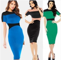 Celeb Vintage Colorblock Women Back Zipper short Sleeve Slimming Fitted Bodycon Party Pencil Wiggle Dress