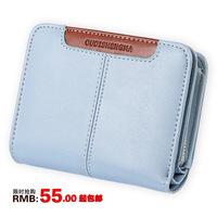 Wallet female short design cowhide patchwork purses folding card place wallet