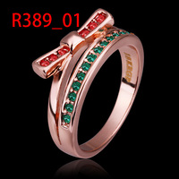 GR389 Fashion Green Gem 18K Rose Gold Plated Ring Made with Genuine Austrian Crystals Wholesale