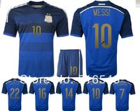 Argentina 2014 Brazil World Cup Football Uniform camiseta Argentina Away Soccer Jersey&short navy blue gradient blue