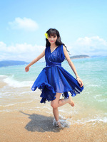 Chiffon one-piece dress summer 2013 spaghetti strap long skirt sweet fairy sand low-high medium skirt beach dress