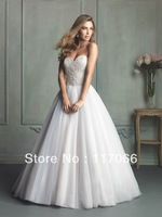 New arrival Ivory Fashion Design Handmade Beading Sweetheart tulle chapel train Bridal wedding dress 2014