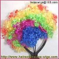 Rainbow Afro Clown Child Adult Costume Football Fan Fancy festival wig Halloween Party Wig