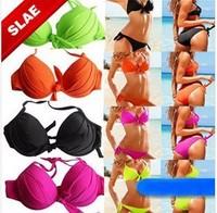 beach wearFactory direct  swimwear multicolored triangle bikini steel prop gathersexy bikini