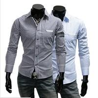 2014 Mens Shirt Slim Fit Unique Neckline Stylish Dress Long Sleeve Stripe Shirts Mens Dress Shirts A091