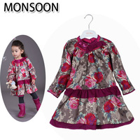 Monsoon female child long-sleeve dress child flower long slim all-match elegant princess dress