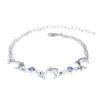 Free shipping!Min order $10!!Girls jewelry birthday gift crystal dolphin bracelet multicolor rhinestones Korean anklet bracelet