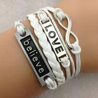 Infinity Love bracelet,Fashion Believe Love Bracelet  Handmade bracelet Free Shipping