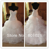 Real Picture Actual Images Ball Gown Chapel Train Sweetheart Dropped Organza Brial Events Wedding Dresses