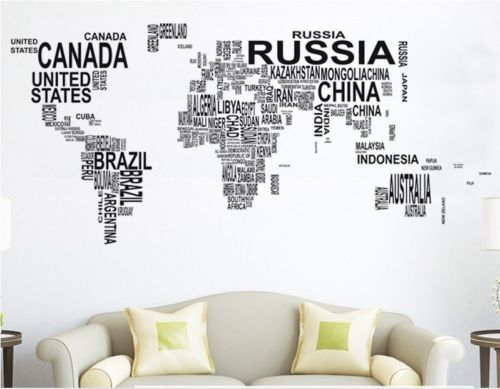 Large World Map Decal Large World Map in Words