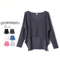 High waist t-shirt batwing sleeve loose short design long-sleeve top female autumn and winter basic shirt  top cropped