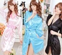 2014 newest sexy lingerie sexy long silk pajamas nightgown bathrobe anti-fashion temptations Special