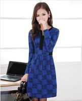 2013 V-neck basic women's one-piece dress slim hip slim long-sleeve  female plus size winter