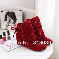 Fashion Women's Cut-outs Boots , Spring and Summer short Boots , Inside High -heeled Shoes ,Free Shipping ,Wholesale