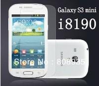 For Samsung Galaxy i8190 SIII S3 Mini Clear LCD screen protector  20pcs/lot(10pcs film+10pcs cloth) Freeshipping