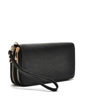 PU Leather Double Zipper Organizer Purse,Wallet,Wrist Purse wallet