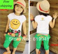 2013 summer short-sleeved T-shirt smile cross pants, harem pants leisure suits, children's two-piece---wj1078