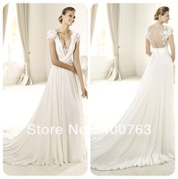 Top Sale Cap Sleeves V Neck Chiffon Court Train Lace Covered Back Wedding Dresses