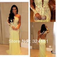Vestidos Formales 2014 Marianne Rabelo Nascimento Sexy One Shoulder SeeThrough Lace Yellow Mermaid Evening Dress Celebrity Dress