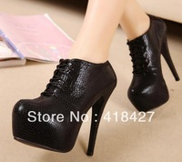 14cm  2013 winter free ship women pumps platform prom snack print size 40 black high heels ankle boots female shoes