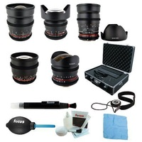 HOT Rokinon Full Cine Lens Kit - 35mm + 24mm + 14mm + 85mm + 8mm for Nikon + Case  .Big sale