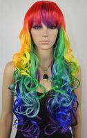 F891 beautiful health hair Rainbow color curly wig wigs