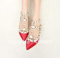 2014 summer drop ship women pointed toe flats patent leather spikes ankle strap female shoes white/black/purple/red/pink