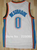 Free Shipping Russell Westbrook Jersey Oklahoma#0 Stitched Basketball Jersey white&blue