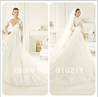 Magnificent V Neck Brush Train Tulle Lace Wedding Dress Sexy Back Long Sleeves