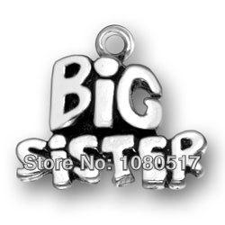 Top Sales Alloy Metal Plating 12pcs a lot Big Sister Family Member Name Pewter Charms(China (Mainland))