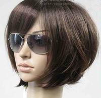 JF53 Fine New Short Dark Brown Fashion Wig+ WIGS hairnet