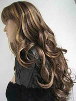 JF96 pretty blonde mix brown long curly women's wig+ WIGS hairnet