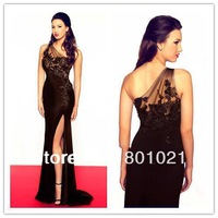 New Arrival 2014 Pageant One Shoulder Floor Length Red Carpet Court Train Lace Long Side Slit Celebrity Dress For Women