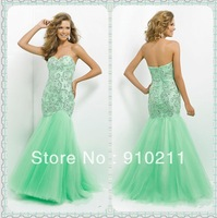 Exquisite Sweetheart Beaded Bodice Tulle Mermaid Full Length Strapless Formal Gown