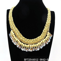 New style women's necklace.Can mix and match.18 k gold plated necklace.Free shipping.Design fashion crystal ball rope chain.