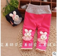 Free shipping 2014 spring fashion Korean kids trousers baby girls' rabbit flower Leggings tights A064
