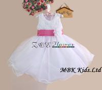 Wholesale Flower Girl Dress New Arrival 2014 Sleeveless Shivering Flowers Kid Girl Princess Dresses Free Shipping MBK-13121103