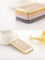 Wholesale Elegant Deluxe Luxury Crystal Bling Diamonds Metal Bumper Case For iPhone 5 5S