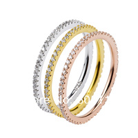 3 pcs per set rings, three colors one line cirzon stones silver rings for women