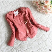 Retail 1 pcs children outerwear spring autumn 2014 coat zipper lace PU leather kids jackets & coats baby girl clothing CCC275