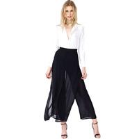 2014 new fashion Vintage vintage double layer chiffon black elegant trousers haoduoyi