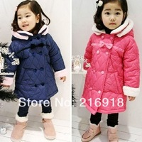Winter children's clothing female winter child 2013 bow double breasted thickening plus velvet child outerwear wadded jacket