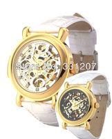 2014 fashion Ouyawei Men Round White Dial Golden Bezel White Leather Band Automatic Mechanical Skeleton Diamond Wrist Watches